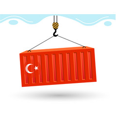 Port crane picks up cargo containers with flag vector