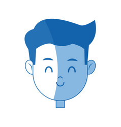 Portrait face boy young smile cartoon vector