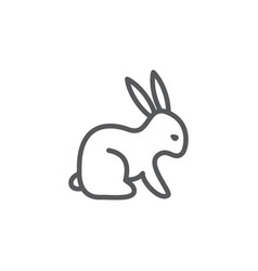 rabbit line icon on white background vector image