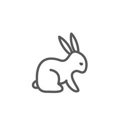 rabbit line icon on white background vector image