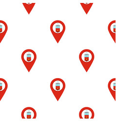 Red map pointer with tram symbol pattern flat vector