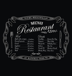 restaurant menu blackboard vintage frame antique vector image