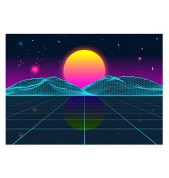 Retro futurism old vhs style landscape 1980s vector