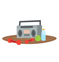 retro tape recorder for audio cassettes dumbbells vector image