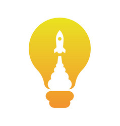 rocket blast inside light bulb ideas concept ve vector image