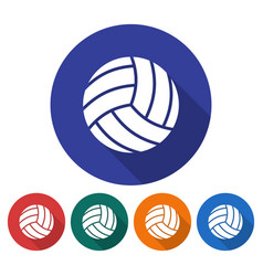 Round icon of volleyball flat style with long vector