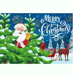santa with christmas bell sleigh and xmas gifts vector image
