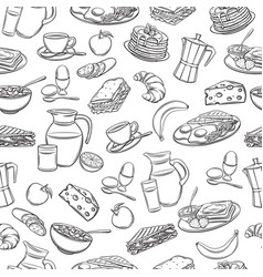 Seamless pattern hand drawn breakfast vector