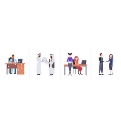 Set businespeople colleagues hard working process vector
