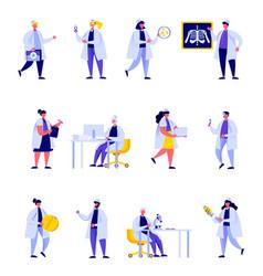 set flat people medical hospital staff vector image