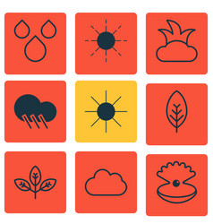 Set of 9 harmony icons includes raindrop sprout vector