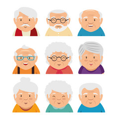 set of grandparents face vector image