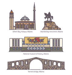 Set of isolated albania famous old architecture vector