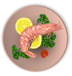 Shrimp on a plate served with vegetables vector