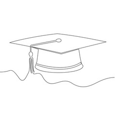 square academic cap continuous line vector image