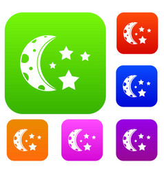 starry night set color collection vector image