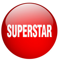 Superstar red round gel isolated push button vector