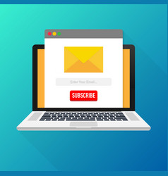 Template email subscribe on laptop submit form vector