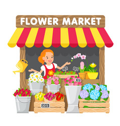 The young woman sells flowers in flower market vector