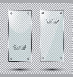 two glass plates with steel rivets isolated vector image