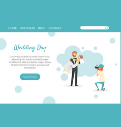 wedding day landing page website or mobile app vector image