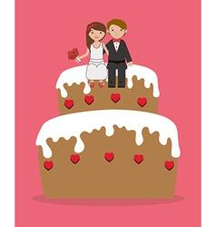 Wedding design over pink background vector