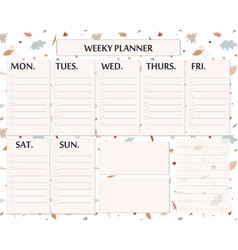 Weekly planner template design for autumn season vector