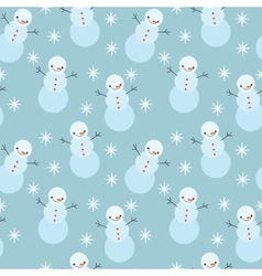 winter snowman seamless pattern vector image