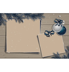 Wooden board with christmas decorations vector image