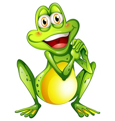 A cheerful green frog vector image vector image