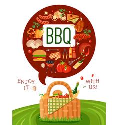 bbq picnic flat invitation poster vector image