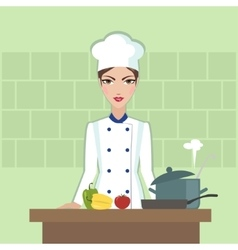 Chef cooking food Flat style vector image