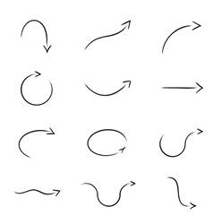 Digital Paintbrush Simulation Arrow Set Collection vector image vector image