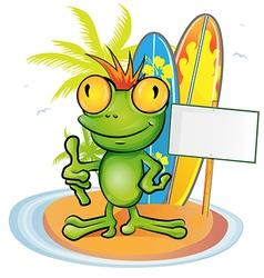 frog cartoon surfer on island background vector image vector image