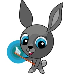 funny cartoon bunny with toothbrush vector image