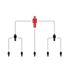 Hierarchy of company scheme with simple person vector image vector image