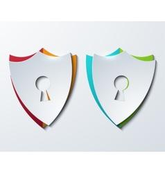 modern shield set on sample background vector image vector image