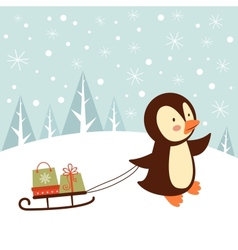 Penguin with gifts vector image vector image