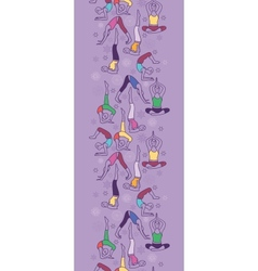 Yoga poses vertical seamless pattern background vector image vector image
