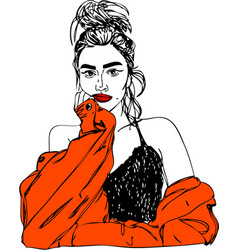 young woman with red lips one line design vector image
