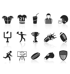 American football icons set vector image vector image