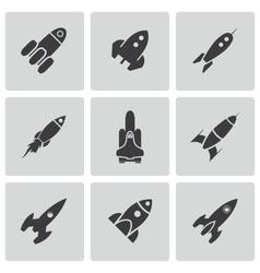 Black rocket icons set vector