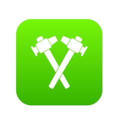 crossed blacksmith hammer icon digital green vector image