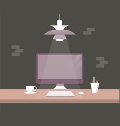 desktop of computer in flat style vector image