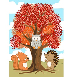 Forest friends under a tree in fall vector image