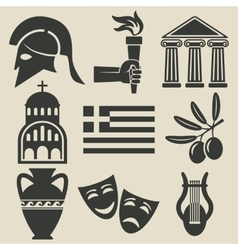 Greece symbol icons set vector image