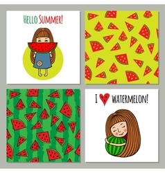 Set of backgrounds watermelon and sweet girls vector image vector image