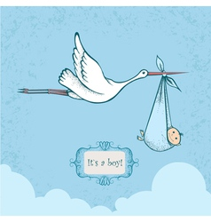 Stork with baby vector image
