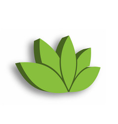 green lotus flower 3d icon on white background vector image vector image