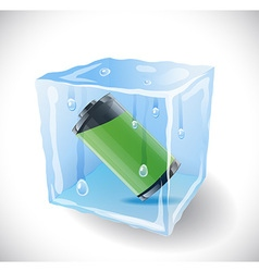 Ice cube with full battery vector image vector image